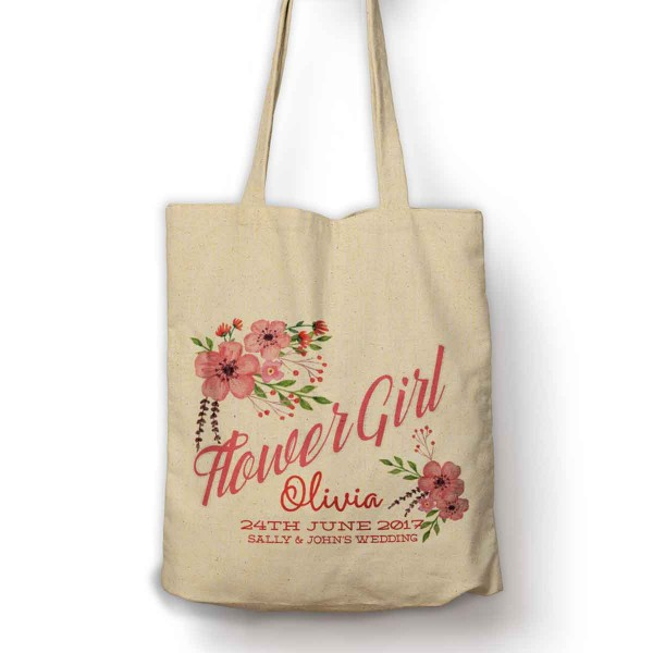 Floral Bouquet Flower Girl Personalised Gift Bag.
