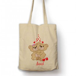 Personalised Two Teddys Cuddleing with hearts Cotton Shopping Shoulder bag