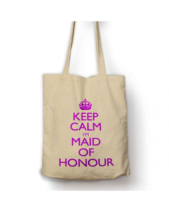 Keep calm I'm the bride tote bag can be Personalised with your name.