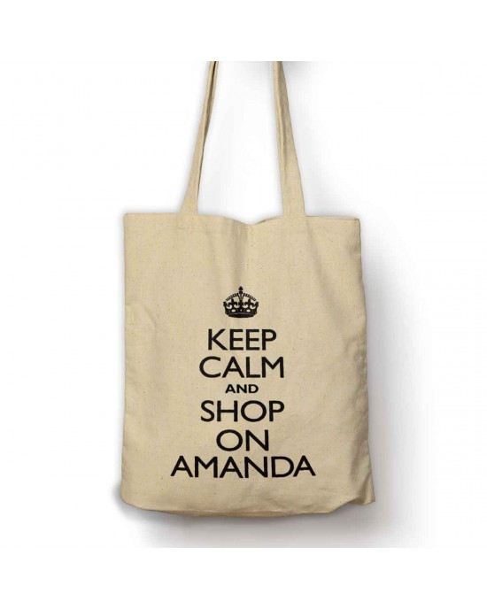 Personalised Keep calm and shop on bag