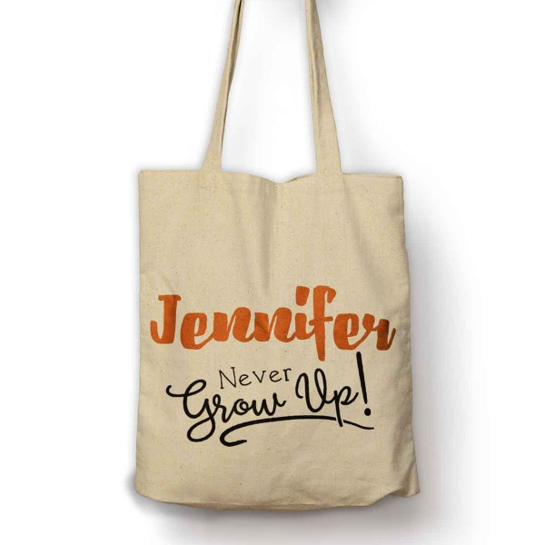 Never Grow Up Personalised bag with your name.