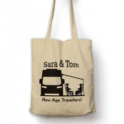 Personalised New age travellers cotton tote bag.