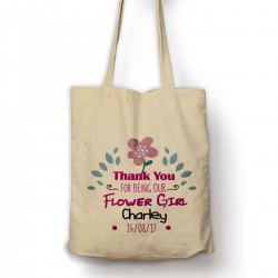 Pretty Personalised Thank you for being our flower girl tote bag