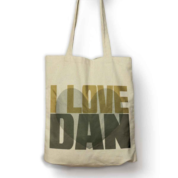 Personalised Cotton Tot bag. A very funky design personalised with your Love's name, Let everyone Know who you love.