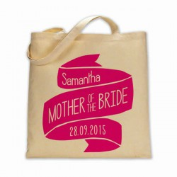 Personalised mother of the bride Cotton Tote Bag Wedding Party . Available in two sizes. With Handles