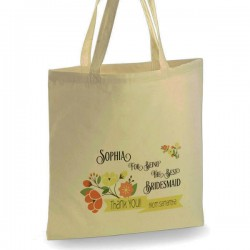 Personalised Pretty Floral Cotton Tote Bag Wedding Party . Available in two sizes. With Handles