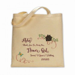 Personalised Pretty Floral design Cotton Tote Bag Wedding Party . Available in two sizes. With Handles
