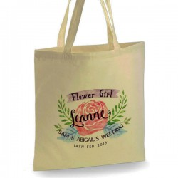 Personalised Cotton Tote Bag For Your Wedding Party. Water colour design. Available in two sizes. With Handles