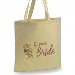 Personalised Floral water colours Cotton Tote Bag Wedding Party . Available in two sizes. With Handles