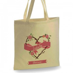 Personalised Floral Heart Cotton Tote Bag Wedding Party . Available in two sizes. With Handles