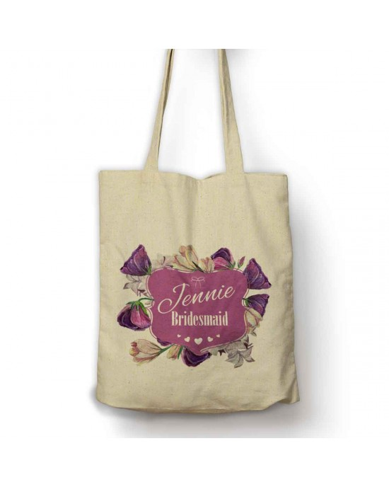 Personalised purple flowers cotton large bag. Ideal gift for flower girls or bridesmaids.