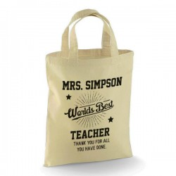 Personalised Thank you Teacher Cotton Tote Bag. Nice School Gift. Available in two sizes. With Handles