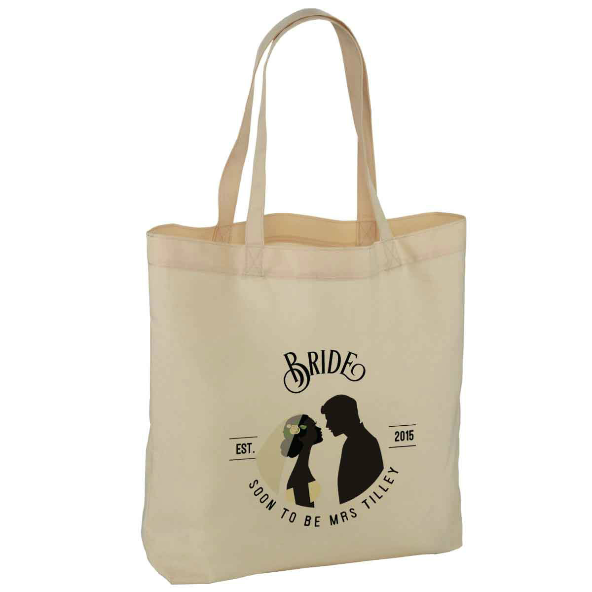 personalised brides wedding party cotton tote bag available in two sizes with handles. Black Bedroom Furniture Sets. Home Design Ideas