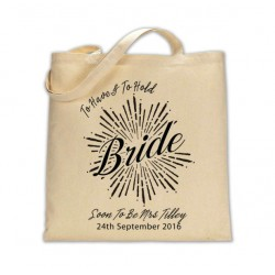 Personalised Cotton Bride Wedding Party Tote Bag. Available in two sizes. With Handles