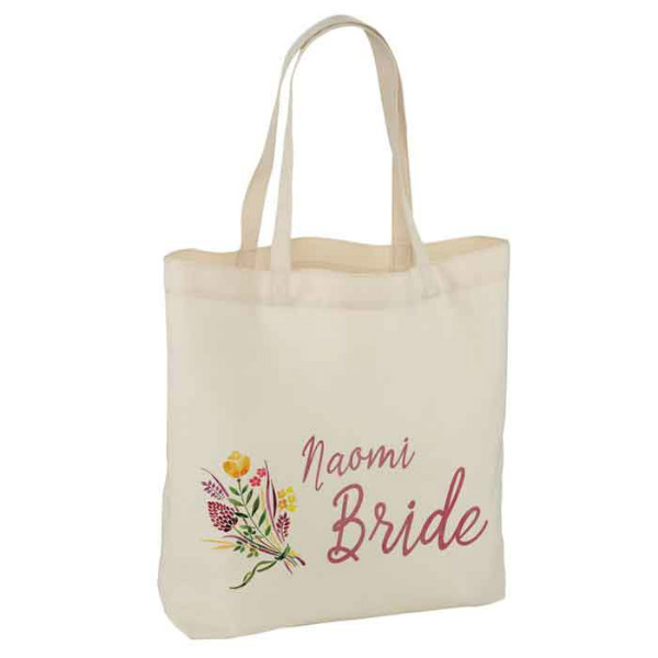 Floral Gifts For Your wedding party, Personalised White Tote Bag. Thank you gifts.  Available in three sizes