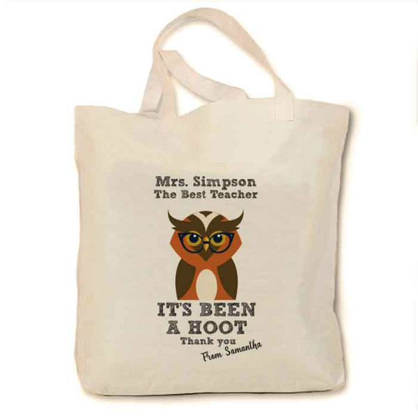 Gifts For Your Teacher, Personalised Owl Cotton Tote Bag. Thank you gifts.  Available in three sizes