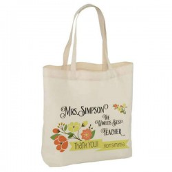 Pretty Thank you Teacher, Personalised White Tote Bag. Thank you gifts.  Available in three sizes