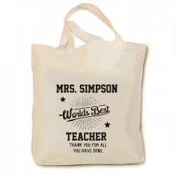 Thank you Gift For Your Teacher, with your Personalised message. Cotton Tote Bag.
