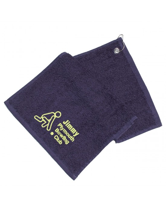 Personalised Embroidered Lawn Bowls Towel. Embroidered with club name