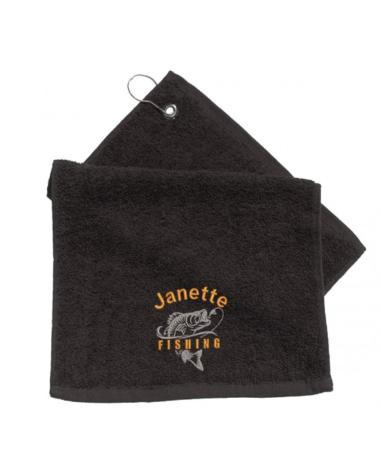 Embroidered Personalised Fishing Logo Towel With Hanging Clip Fishing Gift