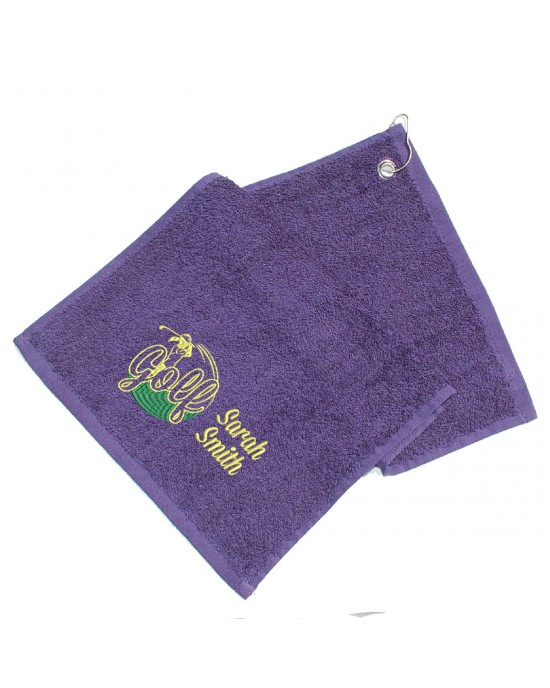 Personalised Golf Towel Ladies. Cotton Towel Lady Golfer Design Gift, Embroidered Towel