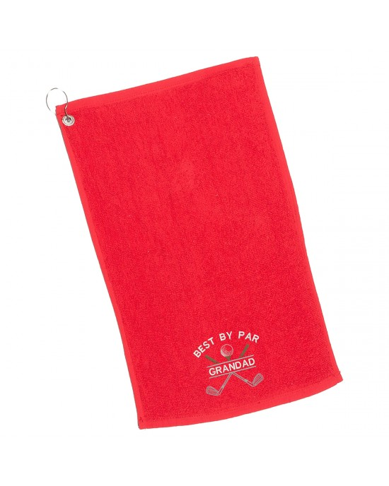 Golf Towel Personalised. Cotton Sports Towel Embroidered with Crossed Golf Clubs design.