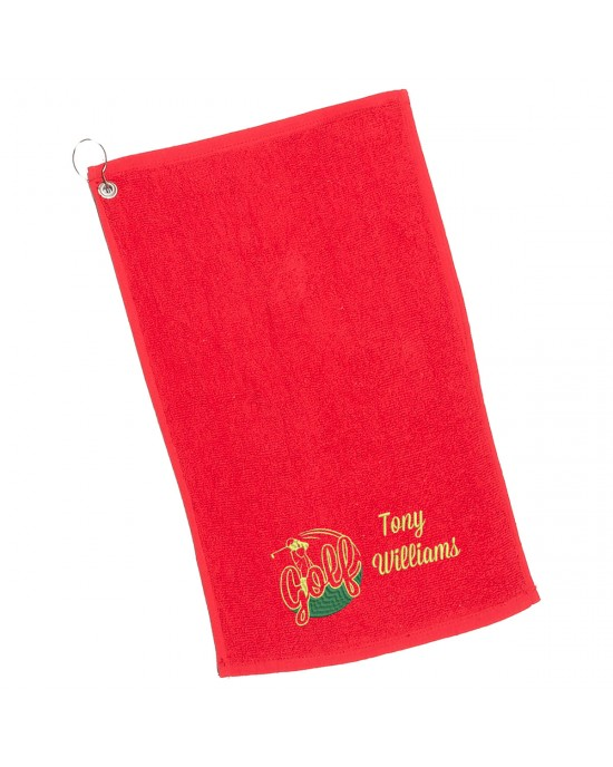 Personalised Golf Towel. Cotton Towel Embroidered with a personalised golf design, perfect fathers day gift.