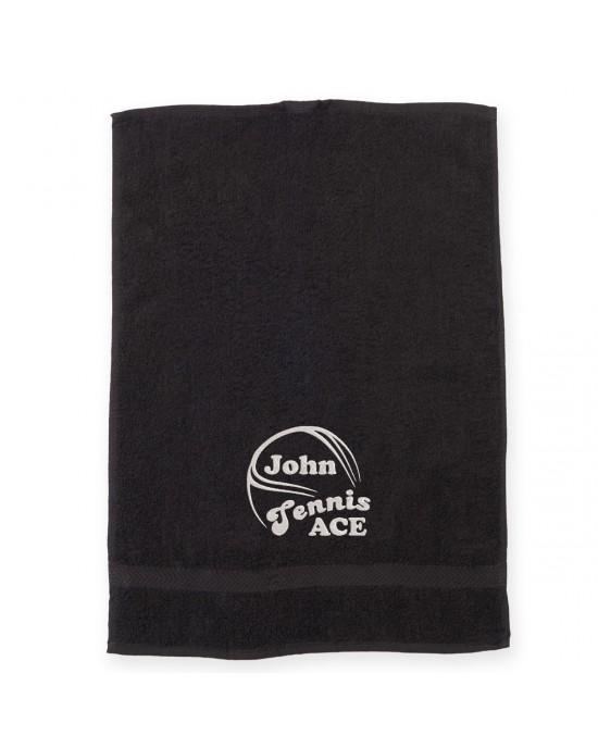 Personalised Sports Towel Tennis design Embroidered with Your Name. Cotton Towel