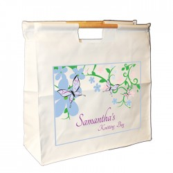 Pretty Floral & Butterfly Design Wooden Handle Bag.