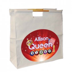 Colourful Bingo Queen Bag Personalised Wooden Handle Shopping Craft Hobby Bag