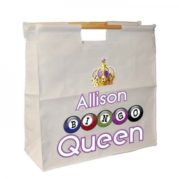 Bingo Queen Bag Personalised Wooden Handle Shopping Craft Hobby Bag