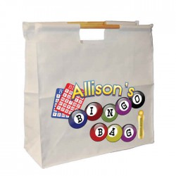 Bingo Bag Personalised Wooden Handle Shopping Craft Hobby Bag
