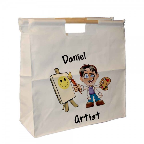 Artist Boy Character, Personalised Wooden Handle Tote Bag, Keep your brushed together