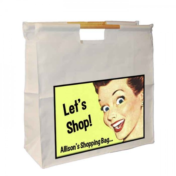 Retro Joke Shopping Bag, Personalised Wooden Handle Shop