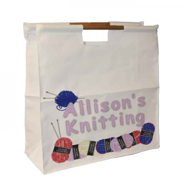 Knitting/ Sewing / Quilting, Personalised Wooden Handle Shopping Craft Hobby Bag