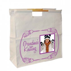 Photo Gift, Knitting / Sewing / Quilting, Personalised Wooden Handle Shopping Craft Hobby Bag