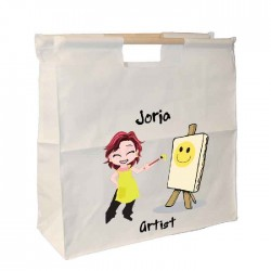 Young Girl Artist Wooden Handle Bag. Great For Keeping All Your Art supplies Together.