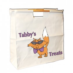 Cats treats bag, Keep your moggies stuff together. Personalised Wooden Handle Bag