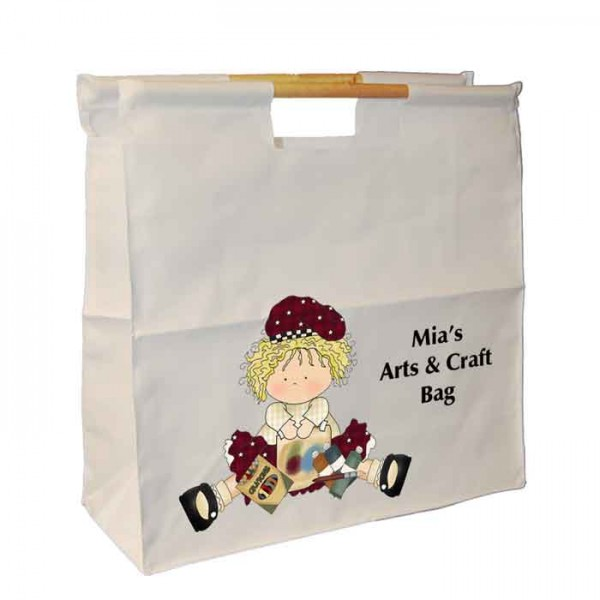 Craft Rag Dolly, Personalised Wooden Handle Shopping Craft Hobby Bag