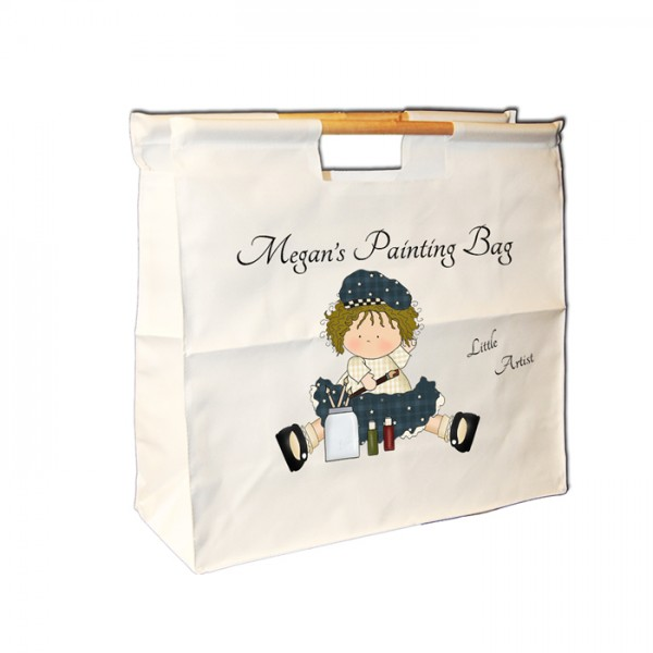 Cute Craft Rag Dolly, Personalised Wooden Handle Shopping Craft Hobby Bag
