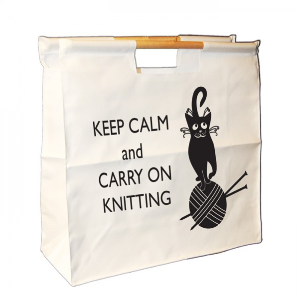 Keep Calm & Keep Knitting, Design, Knitting / Sewing / Quilting, Personalised Wooden Handle Shopping Craft Hobby Bag