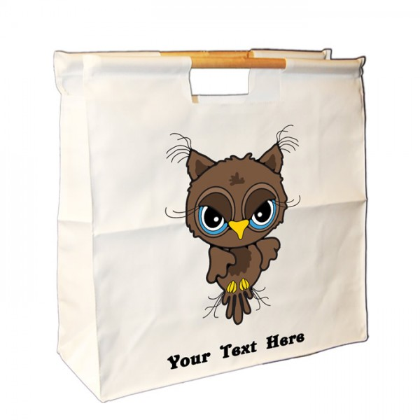 Personalised Brown Owl Design, Sewing Wooden Handle Bag. Great For Keeping All Your Bits Together.