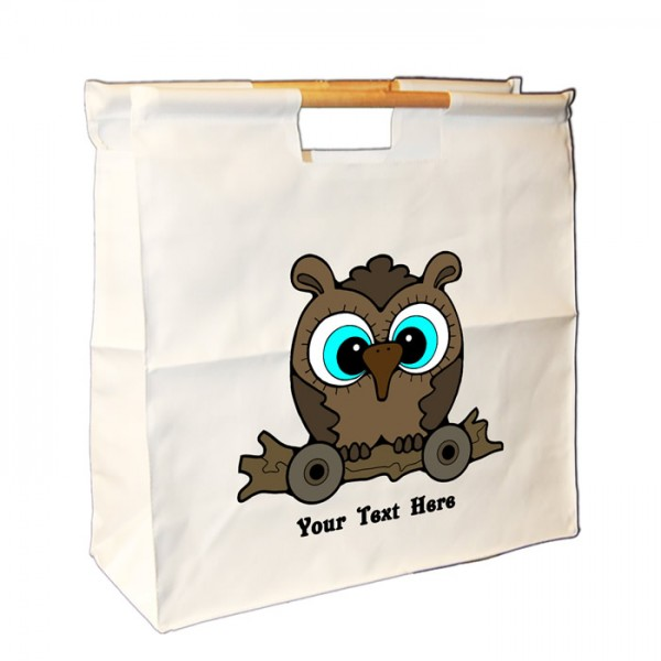 Personalised Your Own Text  Brown Owl Design, Sewing Wooden Handle Bag. Great For Keeping All Your Bits Together.