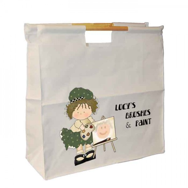 Painting Rag Dolly, Personalised Wooden Handle Shopping Craft Hobby Bag Quilting, Shopping,