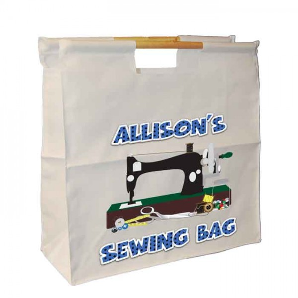 A Sewing Machine Design, Knitting / Sewing / Quilting, Personalised Wooden Handle Shopping Craft Hobby Bag