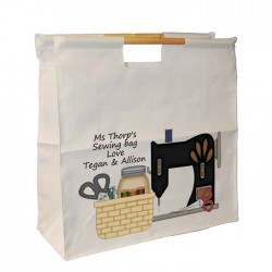 Sewing Machine Design, Knitting / Sewing / Quilting, Personalised Wooden Handle Shopping Craft Hobby Bag