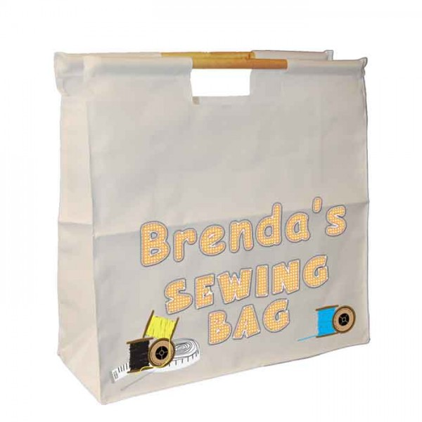 A Knitting / Sewing / Quilting, Personalised Wooden Handle Shopping Craft Hobby Bag