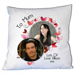 Butterfly Photo Cushion. Upload any 2 photos. Cushion Cover and Optional Cushion Inner.