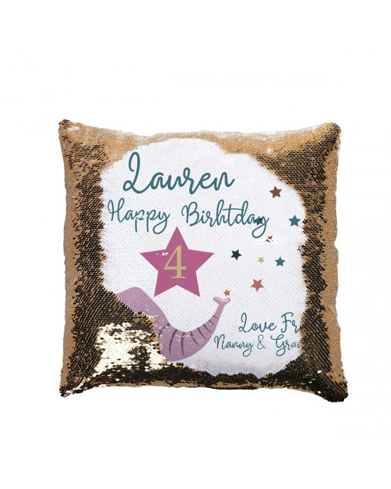 Personalised Sequin reveal Cushion Child's Birthday Gift, Cute Elephant Design
