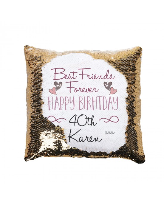 Personalised Sequin Glitter Cushion. Best Friends Birthday Gift. Available In Colours